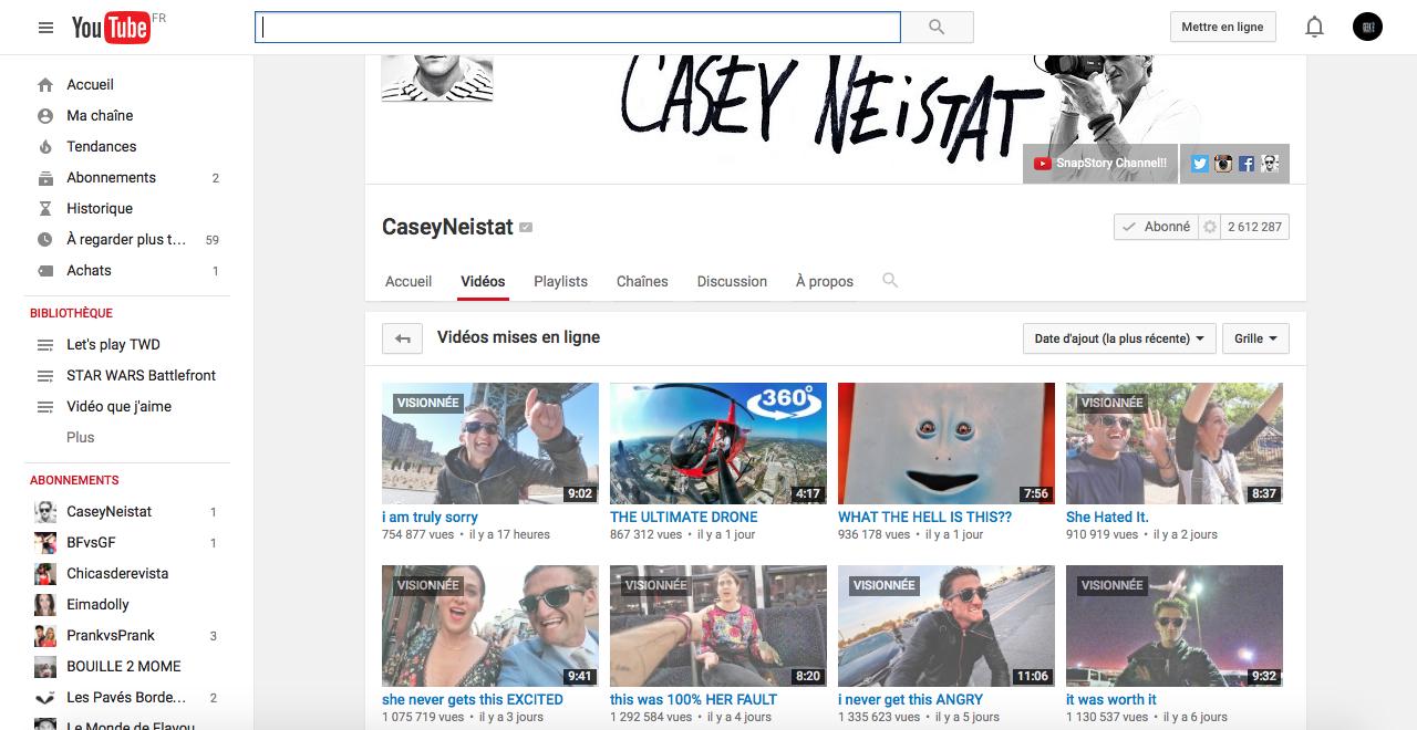 chaine youtube casey neistant millions de vues