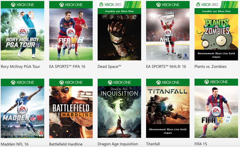 ea access the vault catalogue jeux xbox